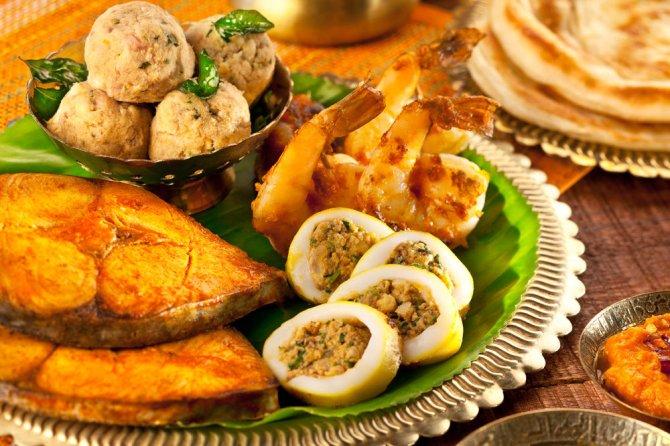 Seafood Platter-Stuffed Squid rings, Crab Masala, Crab Cakes, Fish Fry @ Zambar-001